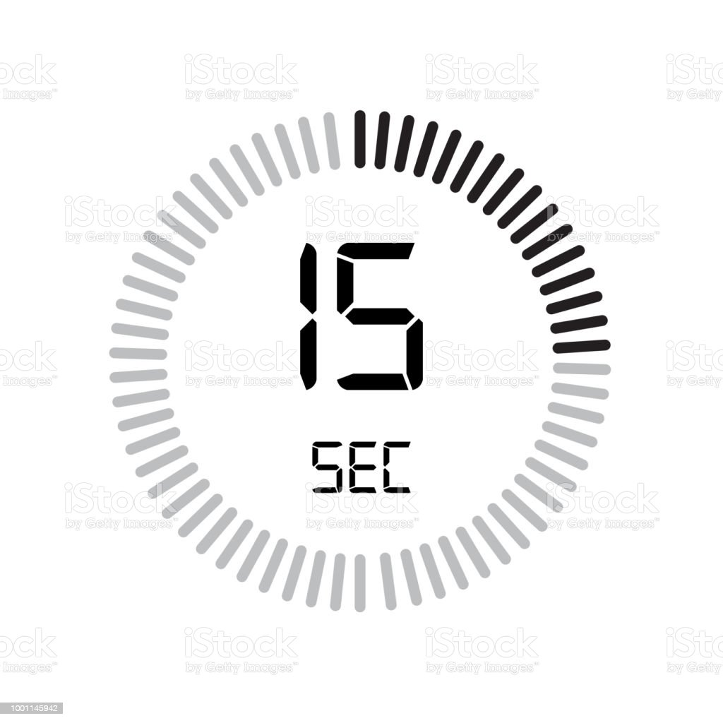 the 15 seconds icon digital timer clock and watch timer