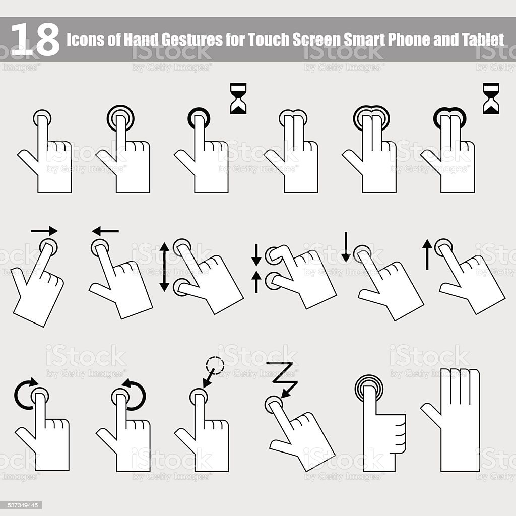 The 18 Icons of hand gestures for smart phone vector art illustration