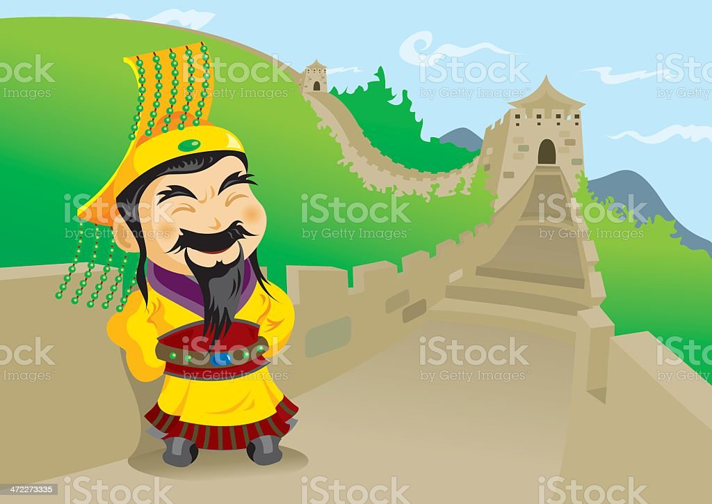 The 1st Emperor of China - Qin Shi Huang The 1st Emperor of China posing with the Great Wall as background. Adults Only stock vector