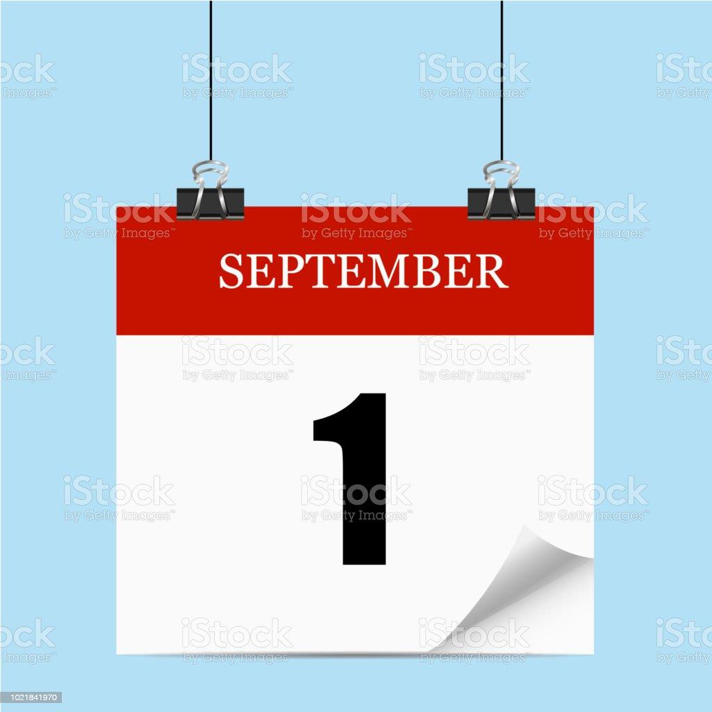 Am 1. September. Zurück zur Schule. Herbst. Kalender. Vektor-illustration – Vektorgrafik