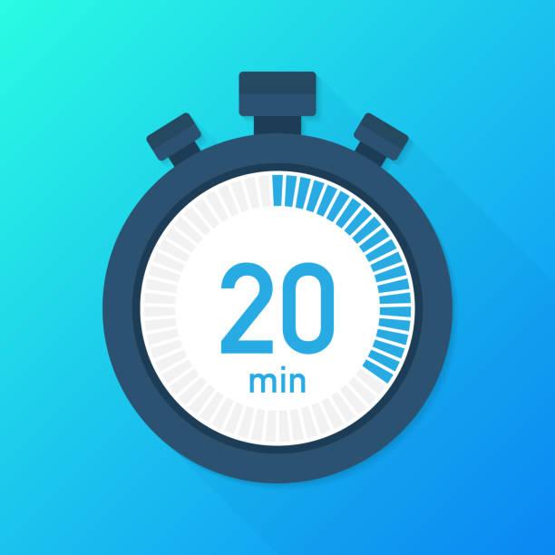 illustrations, cliparts, dessins animés et icônes de les 20 minutes, icône du vecteur chronographe. icône de chronomètre dans un style plat, minuterie sur fond de couleur.  illustration vectorielle. - chrono sport