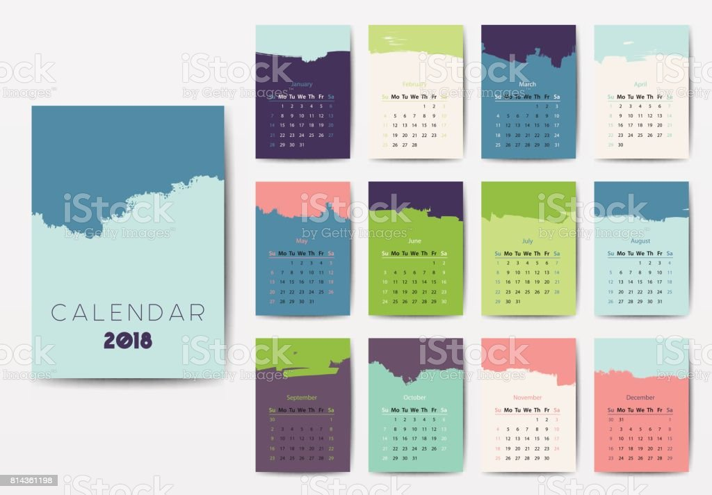 The 2018 calendar vector art illustration