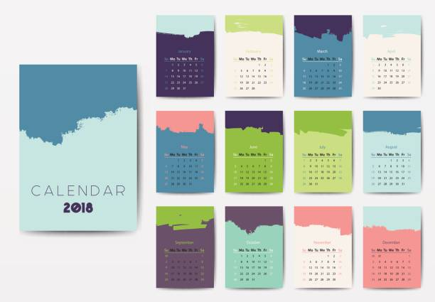 the 2018 calendar - abstract calendar stock illustrations, clip art, cartoons, & icons