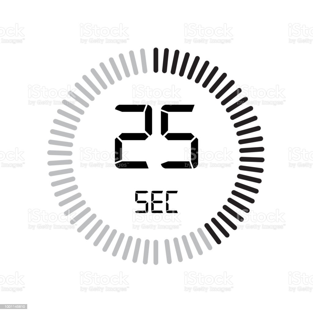 the 25 seconds icon digital timer clock and watch timer