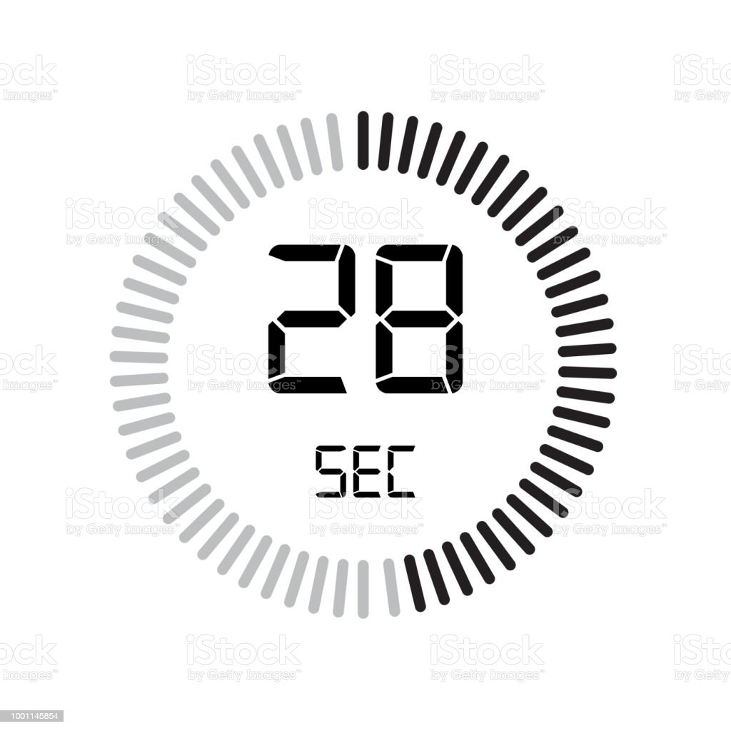 the 28 seconds icon digital timer clock and watch timer countdown