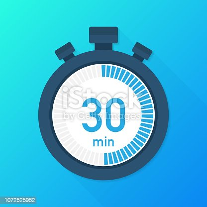 The 30 minutes, stopwatch vector icon. Stopwatch icon in flat style, timer on on color background.  Vector stock illustration.