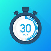 istock The 30 minutes, stopwatch vector icon. Stopwatch icon in flat style, timer on on color background.  Vector illustration. 1072525952