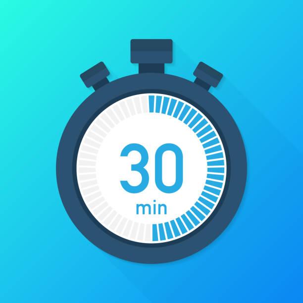 illustrations, cliparts, dessins animés et icônes de les 30 minutes, icône du vecteur chronographe. icône de chronomètre dans un style plat, minuterie sur fond de couleur.  illustration vectorielle. - chronomètre
