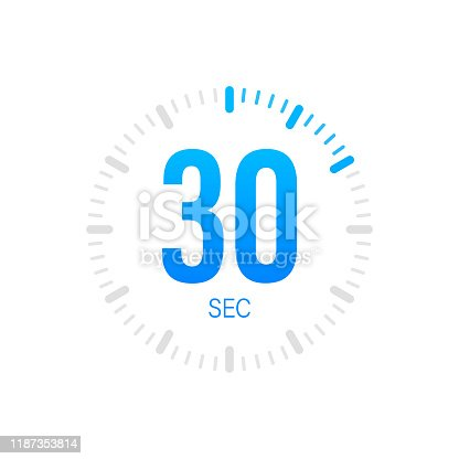 The 30 second, timer, stopwatch vector icon. Stopwatch icon in flat style. Vector stock illustration