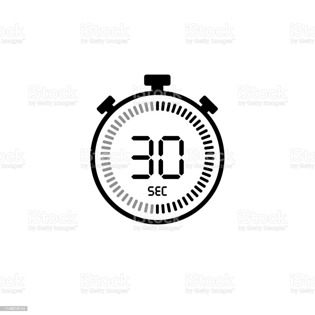 The 30 Seconds Stopwatch Vector Icon Digital Timer Clock ...