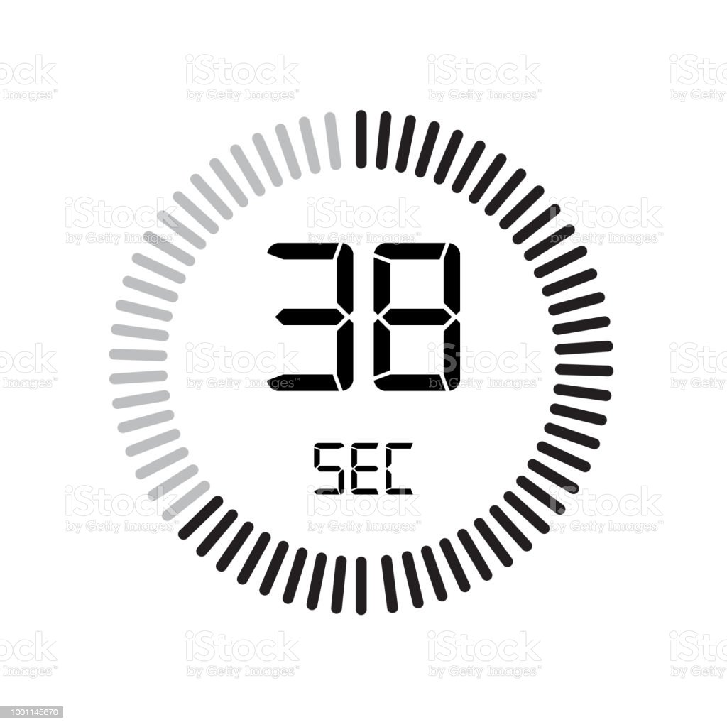 the 38 seconds icon digital timer clock and watch timer countdown symbol isolated on white