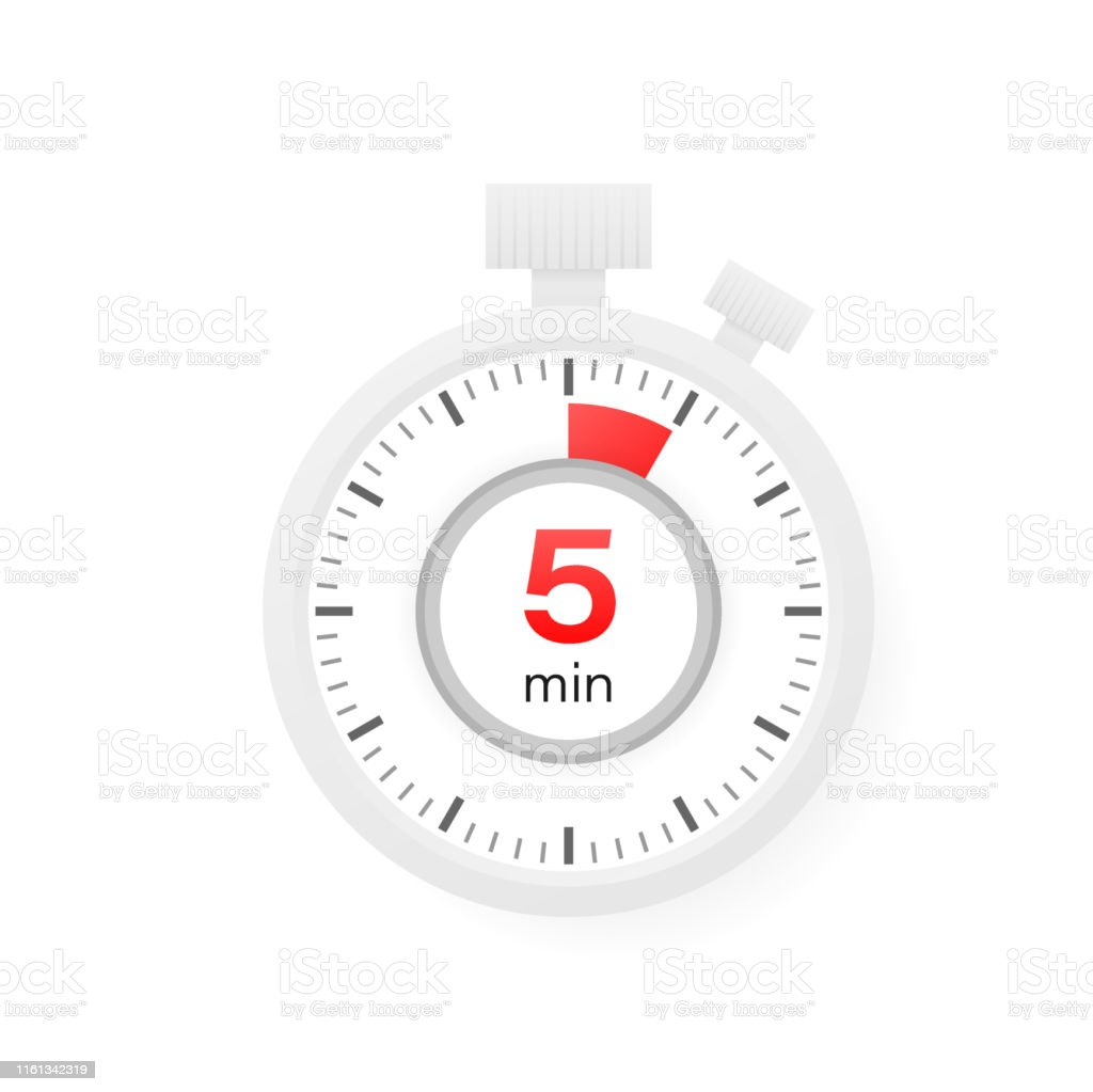 the 5 minutes timer stopwatch icon in flat style stock