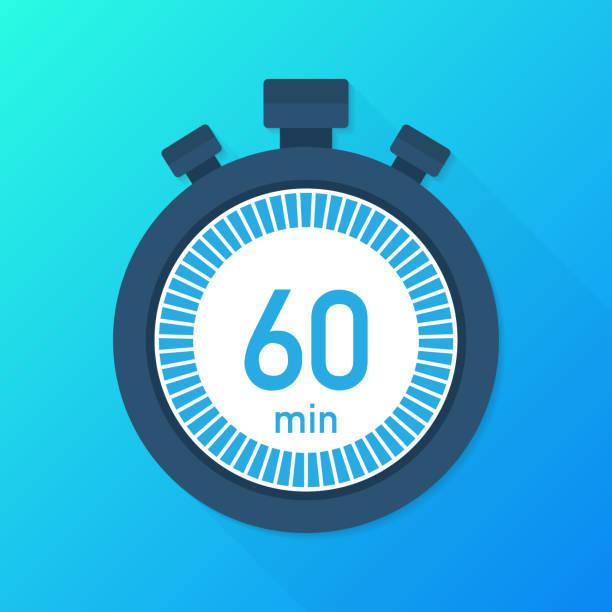 illustrations, cliparts, dessins animés et icônes de les 60 minutes, icône du vecteur chronographe. icône de chronomètre dans un style plat, minuterie sur fond de couleur.  illustration vectorielle. - minuteur