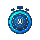 The 60 minutes, stopwatch vector icon. Stopwatch icon in flat style on a white background. Vector stock illustration