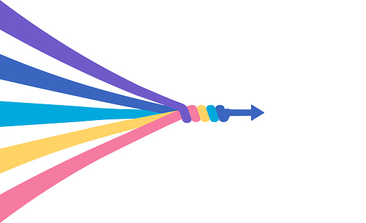 The abstract concept of teamwork, partnership, merger, alliance. Many multi-colored lines merge into a single arrow. Flat vector illustration isolated in white background.