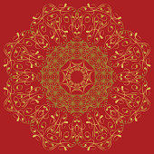 the abstract design of a circular pattern. Round Mandala.