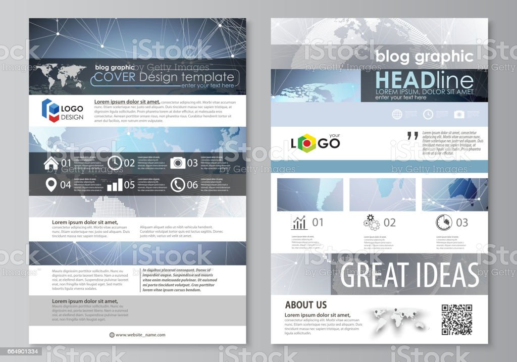 The abstract minimalistic vector illustration of the editable layout of two modern blog graphic pages mockup design templates. Technology concept. Molecule structure, connecting background the abstract minimalistic vector illustration of the editable layout of two modern blog graphic pages mockup design templates technology concept molecule structure connecting background - immagini vettoriali stock e altre immagini di affari royalty-free
