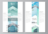 The abstract minimalistic vector illustration of the editable layout of two modern blog graphic pages mockup design templates. Chemistry pattern, molecule structure, geometric design background