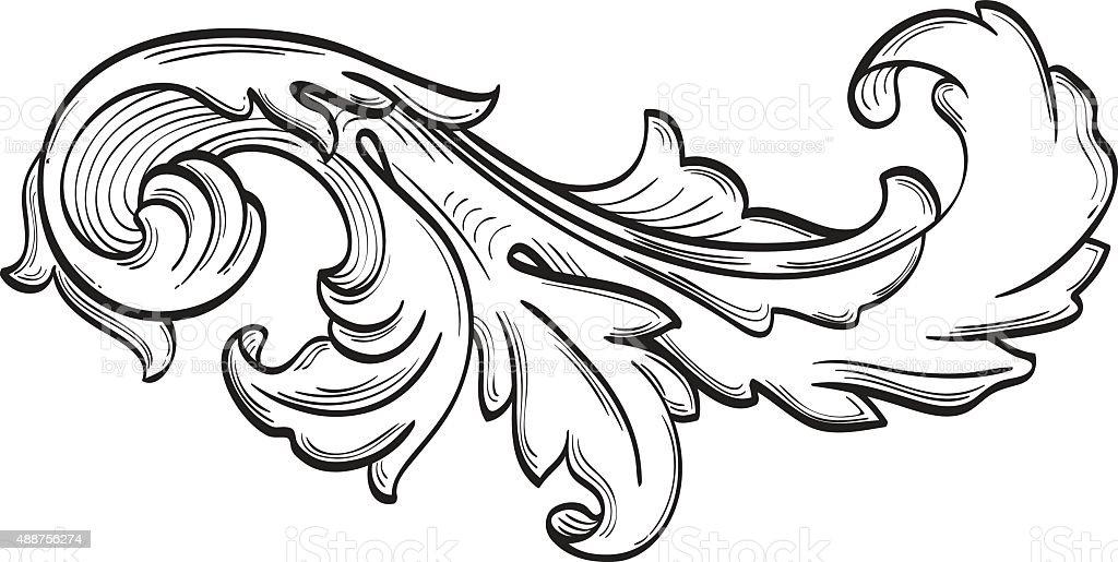 The acanthus scroll nice leaf vector art illustration
