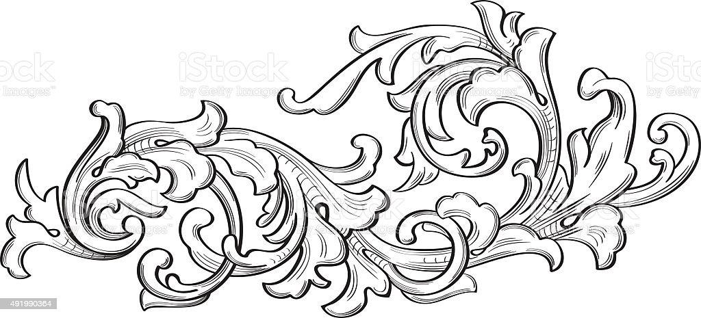 The acanthus single leaf vector art illustration
