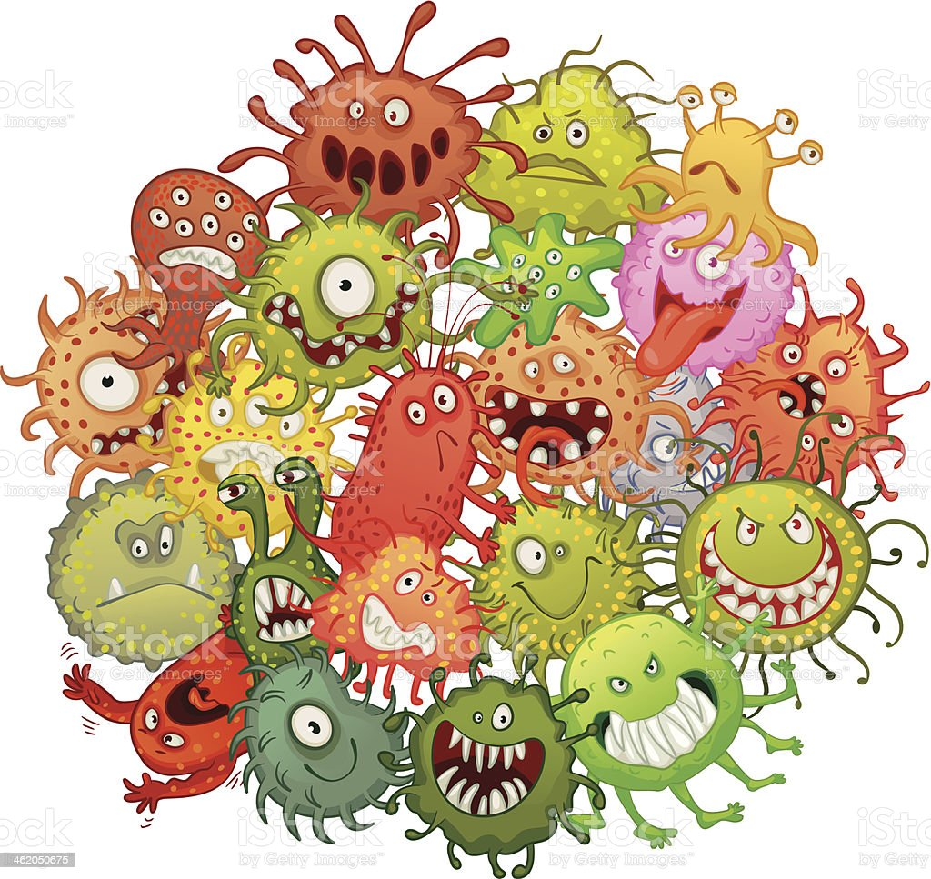 The accumulation of bacteria vector art illustration