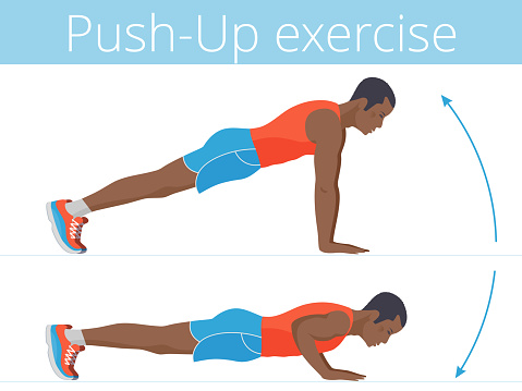 The active afroamerican young man is doing the push up exercise.