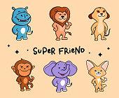 The adorable set of animals. Six Safari cartoon characters.