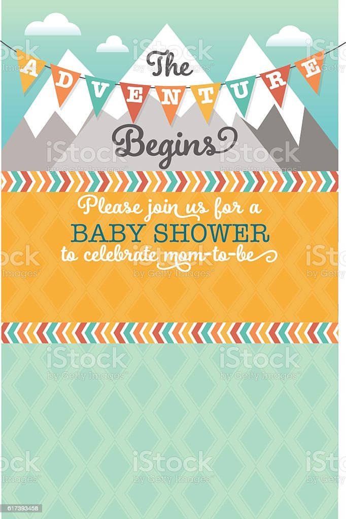 The Adventure Begins Baby Shower Invitation vector art illustration
