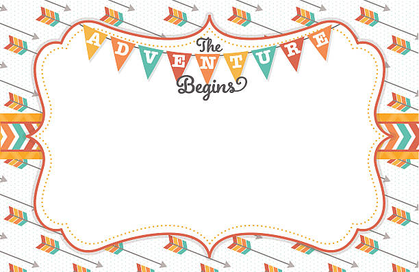 """The Adventure Begins Tribal Frame A vector illustration of a frame featuring arrows, tribal elements and """"The Adventure Begins"""" text, perfect for a gender neutral baby shower. Objects are grouped and layered for easy editing. adventure borders stock illustrations"""