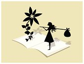 Giant flower and little girl standing on an open book. It´s a metaphor for the fantastic adventures you can experience when you read stories.