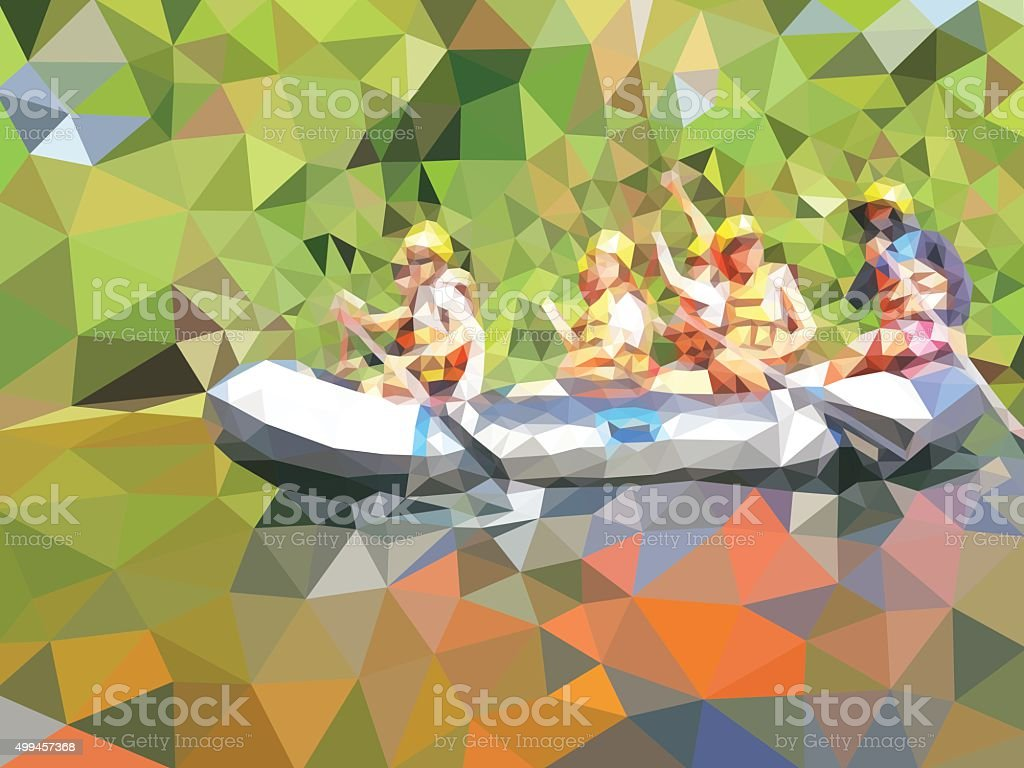 the adventure rafting in a river vector art illustration