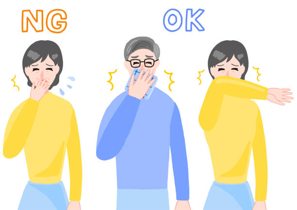 illustrazioni stock, clip art, cartoni animati e icone di tendenza di the aged people who sneezes - solo giapponesi