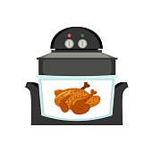The airfryer prepares grilled fried chicken. Fast food preparation. Air fryer tehnology.