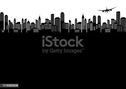 istock the airplane flying over the city black silhouette 1216390508