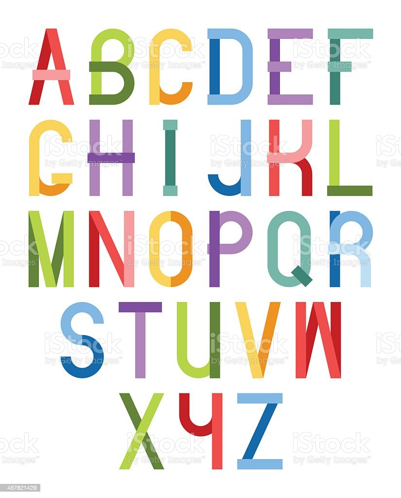 The alphabet in different color fonts vector art illustration