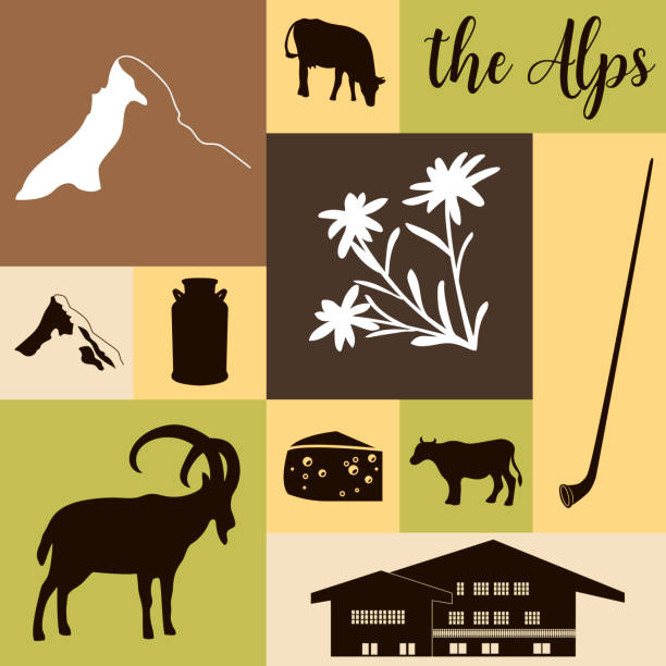 The Alps flat icons. Mountain Matterhorn, Alpine ibex, chalet, edelweiss flowers, alpenhorn, milk, squared The Alps flat icons. hand drawn vector illustration squared big set. Mountain Matterhorn, Alpine ibex, chalet, edelweiss flower, alpenhorn, chalet, goat, cow, chocolate, milk can, cheese mont blanc black white snow scene silhouette stock illustrations
