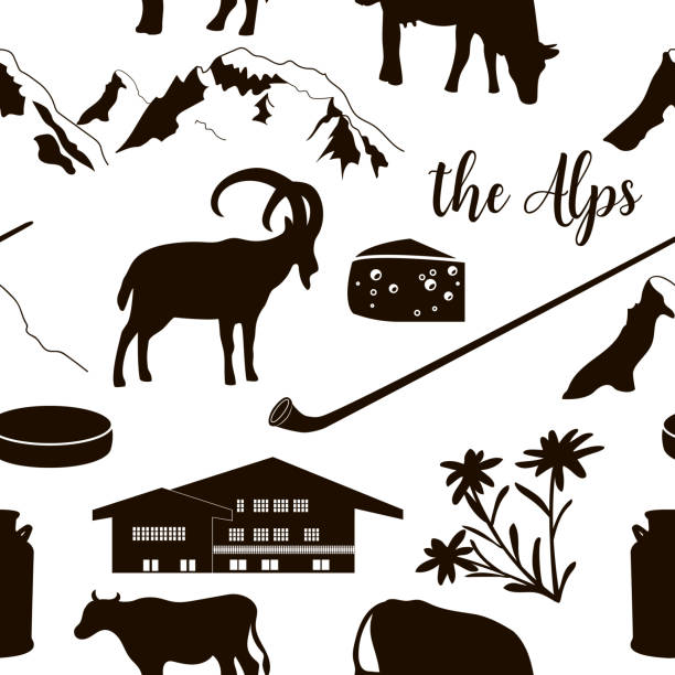 The Alps seamless pattern flat icons. Mountain Matterhorn, Alpine ibex, chalet, edelweiss, alpenhorn. The Alps flat icons. hand drawn vector seamless pattern big set. Mountain Matterhorn, Alpine ibex, chalet, edelweiss flower, alpenhorn, chalet, goat, cow, chocolate, milk can, cheese mont blanc black white snow scene silhouette stock illustrations
