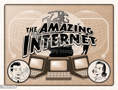 An imaginary anachronistic advertisement for the internet.