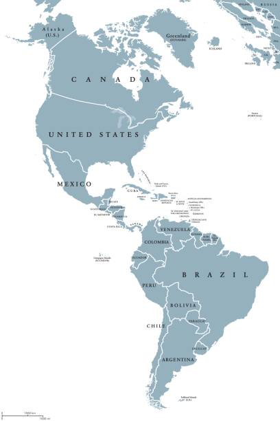 the americas political map - south america maps stock illustrations