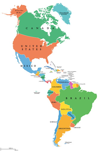 The Americas, single states, political map with national borders. Caribbean, North, Central and South America. Different colored countries with English country names. Illustration over white. Vector.