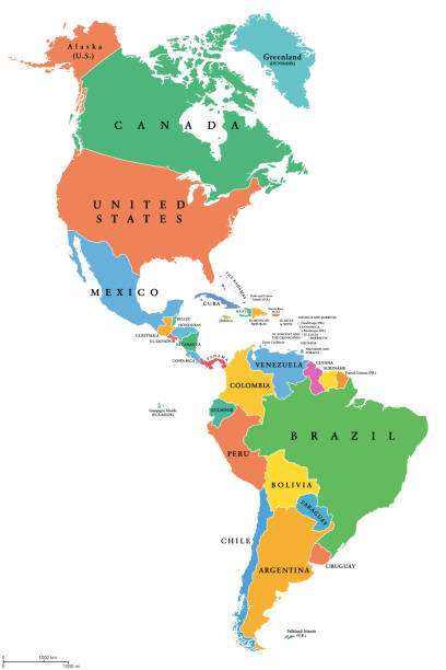 The Americas, single states, political map with national borders vector art illustration