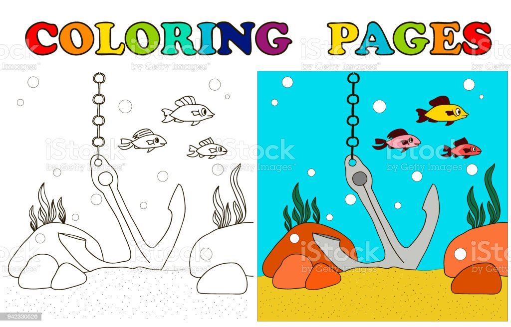 The Anchor On The Sea Bottom And The Fish Swim Cartoon Coloring ...
