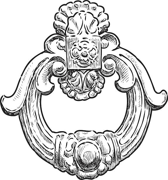 the ancient door handle in the form of the decorative ring - 노커 stock illustrations