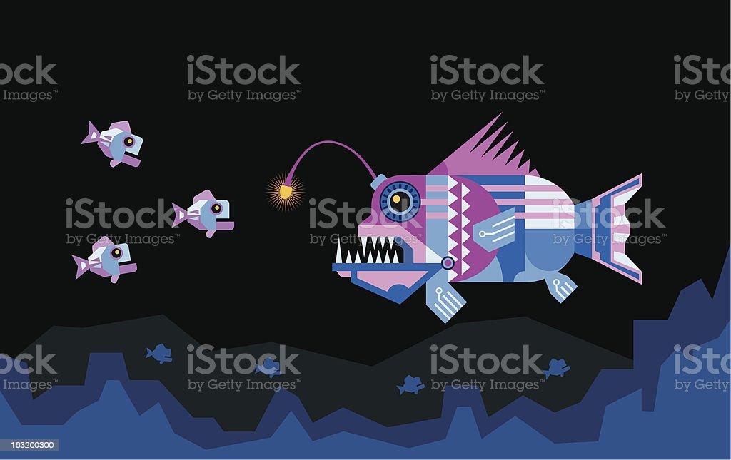 the Angler fish attracts prey vector art illustration