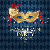 An invitation to the masquerade party for the Venice Carnival with golden mask on the blue diamond shape background