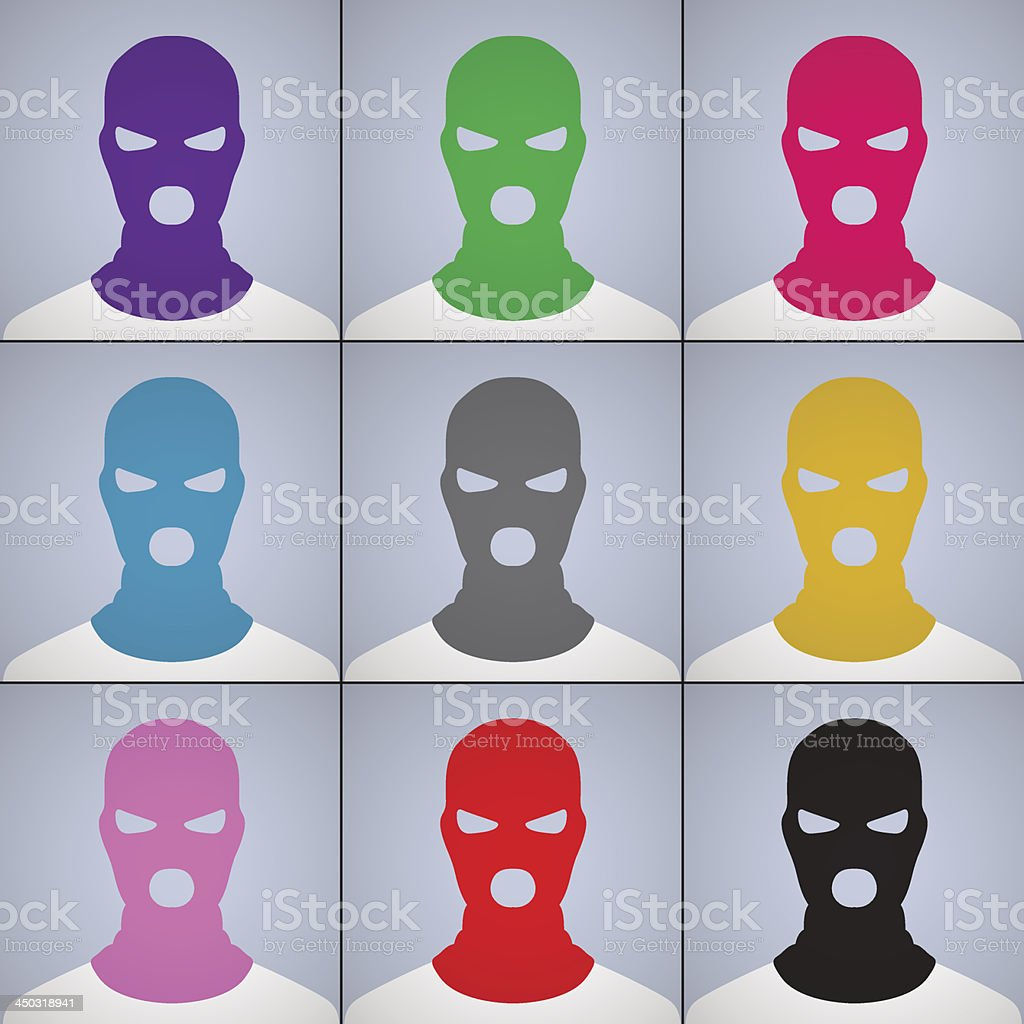 The anonymous author of avatars in a cap-mask vector art illustration