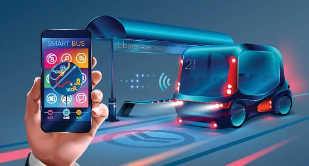 die anwendungsschnittstelle für handy-smart-bus - selbstfahrende autos stock-grafiken, -clipart, -cartoons und -symbole