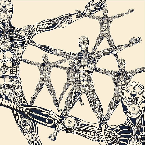The architecture of evolutionary synthesis. Robotics. vector art illustration