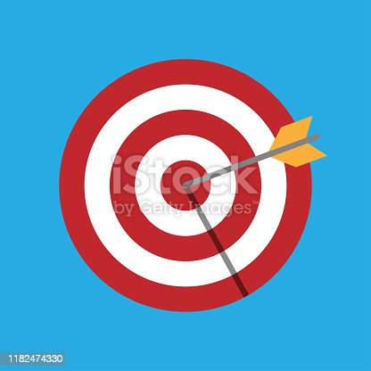The arrow hits the target. Darts. Vector illustration