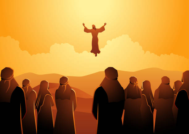 the ascension of jesus - part of a series stock illustrations